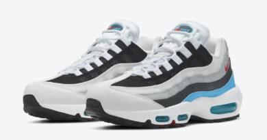 Pánské bílé černé tenisky a boty Nike Air Max 95 White/Black-Glass Blue-Challenger Red CV6971-100 sportovní nízké botasky a obuv Nike