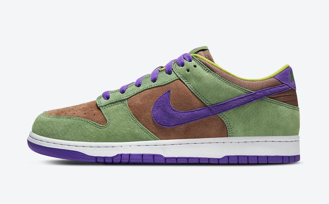 Pánské hnědé a zelené tenisky Nike Dunk Low SP Veneer/Autumn Green-Deep Purple DA1469-200 nízké semišové boty a obuv Nike