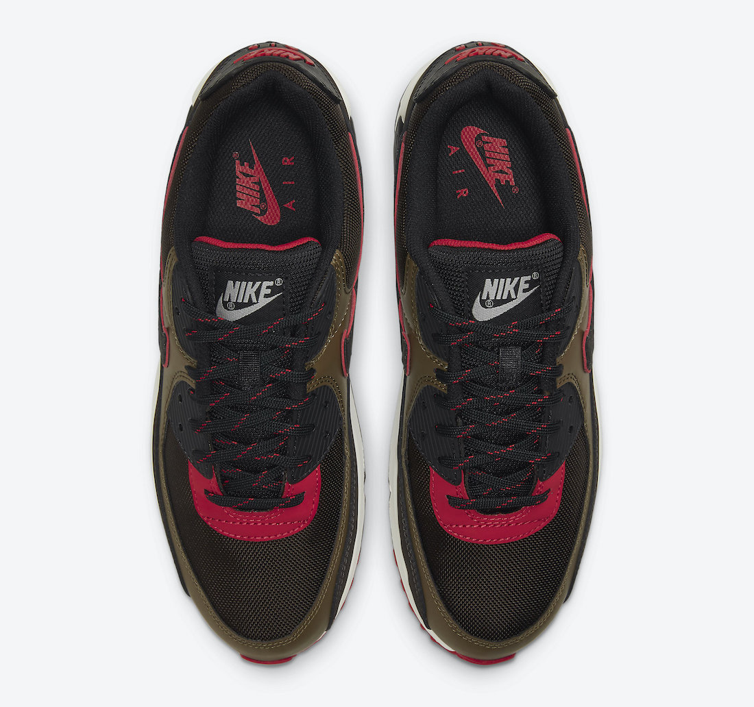 Pánské černé hnědé tenisky a boty Nike Air Max 90 Velvet Brown/University Red-Yukon Brown-Black CT1686-200 nízké botasky a obuv Nike