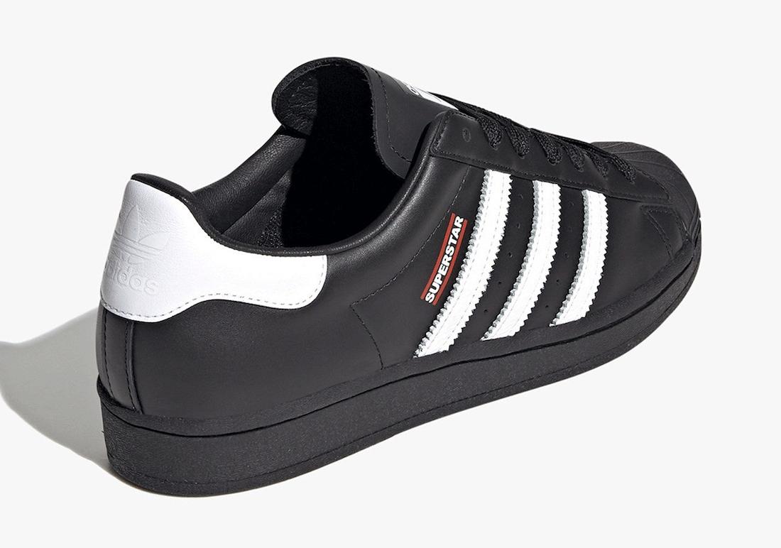 Pánské černé tenisky a boty Run DMC x adidas Superstar Black/Footwear White/Hi-Res Red FX7617 kožené nízké botasky a obuv adidas
