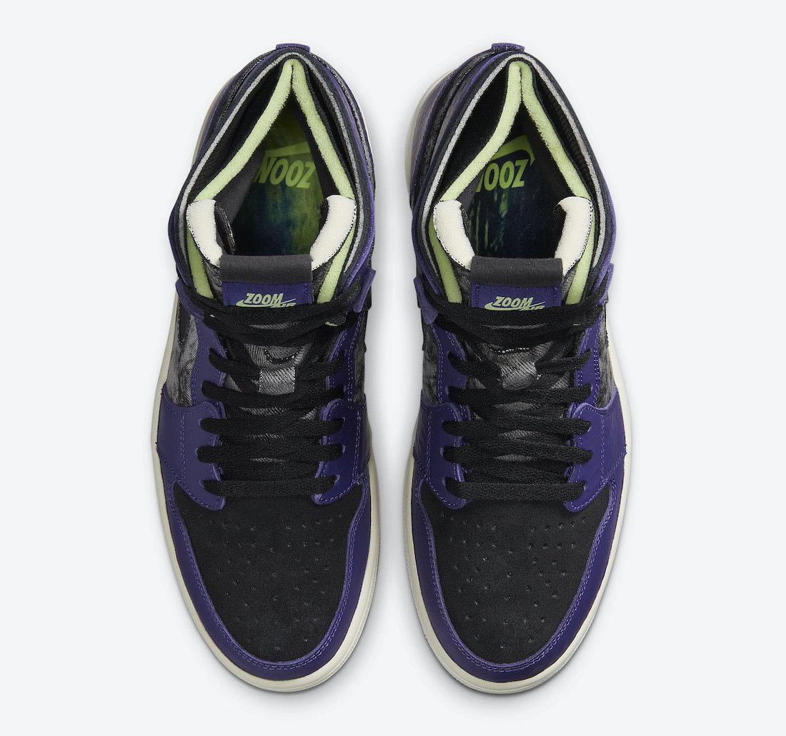 Pánské černé fialové tenisky Air Jordan 1 Zoom Comfort Bayou Boys New Orchid/Lime Blast-Black DC2133-500 kotníkové boty a obuv Jordan