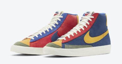 Barevné semišové boty Nike Blazer Mid '77 Vintage WE Suede Coastal Blue/University Red-Spiral Sage-Sun Halo Yellow DC9179-476