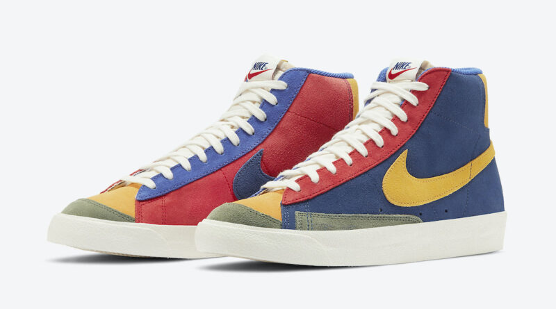 Barevné semišové boty Nike Blazer Mid '77 Vintage WE Suede Coastal Blue/University Red-Spiral Sage-Sun Halo Yellow DC9179-476