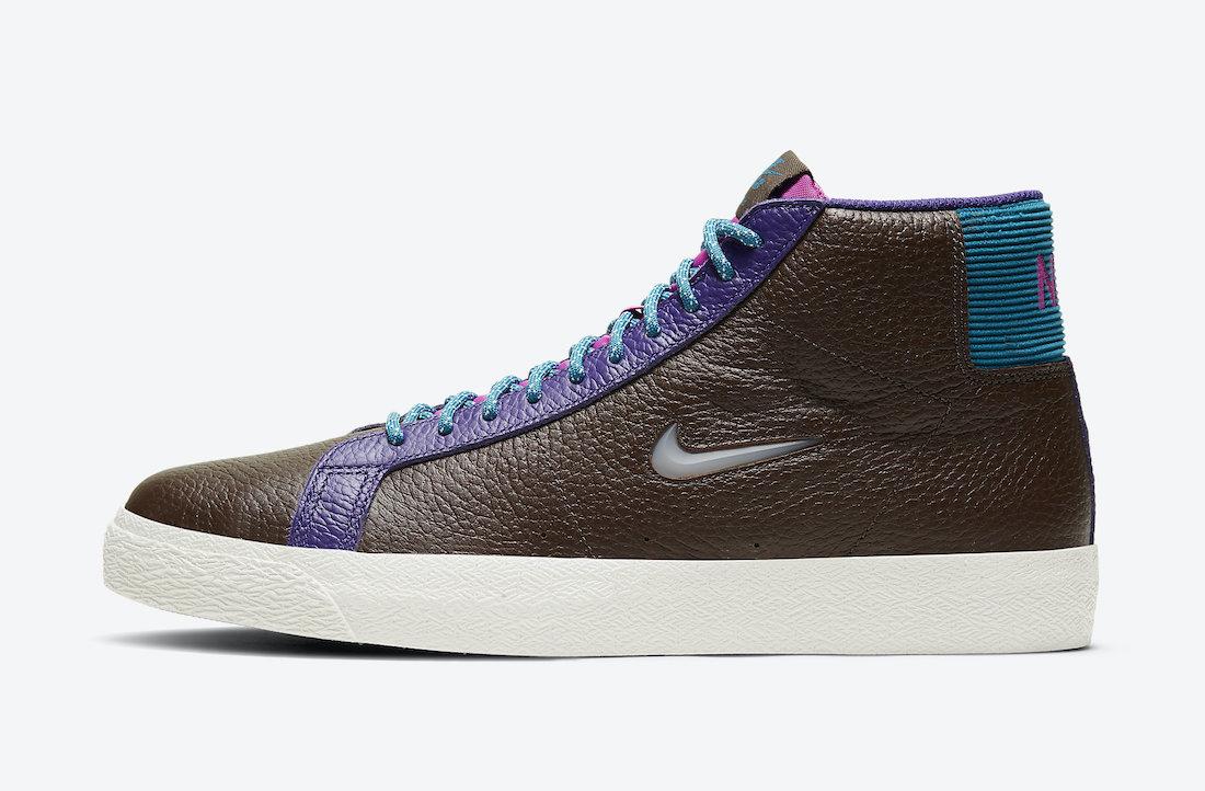 Pánské hnědé tenisky Nike SB Zoom Blazer Mid Premium Baroque Brown/Green Abyss/White CU5283-201 kožené kotníkové boty a obuv Nike