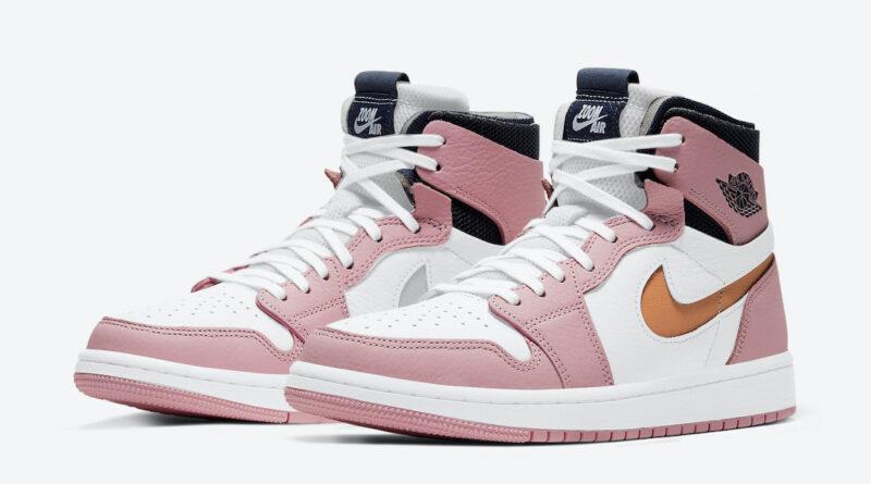 Pánské bílé růžové tenisky Air Jordan 1 Zoom Comfort Pink Glaze/Cactus Flower-White-Sail CT0979-601 kožené kotníkové boty a obuv Jordan