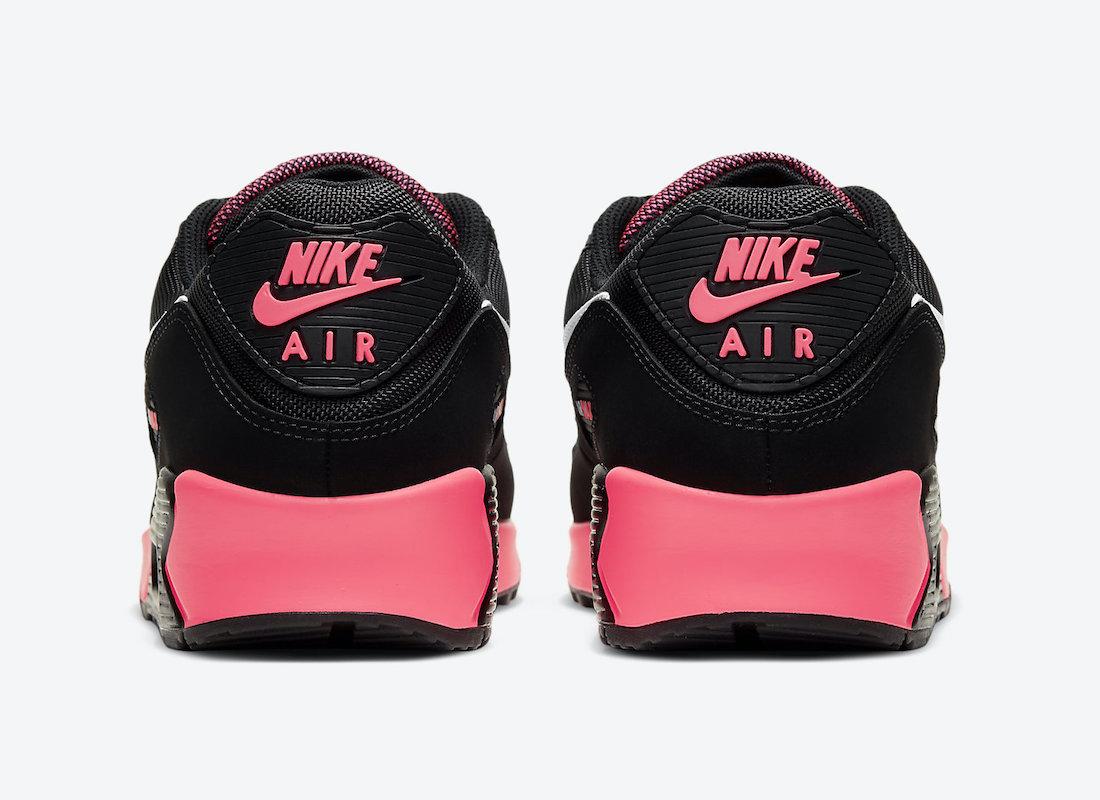 Pánské černé růžové tenisky a boty Nike Air Max 90 Black/White-Racer Pink DB3915-003 sportovní nízké botasky a obuv Nike