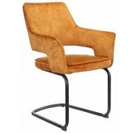 Kovová jídelní židle Hudson žlutá látka