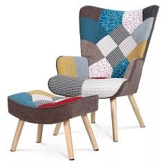 Pohodlné křeslo s podnožkou GUNNAR patchwork