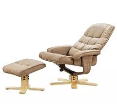 Relaxační otočné křeslo s taburetem DIKSON - krémová