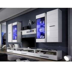 Asko obývací stěna s osvětlením Attenzione bílý vysoký lesk