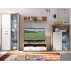 Asko obývací stěna s osvětlením Ibiza lesklá bílá-divoký dub wotan
