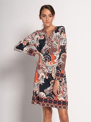 Barevné letní šaty Mishumo Dress rust/black MI-13829