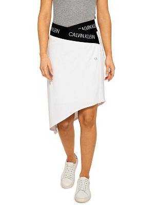Asymetrická bílá sukně Calvin Klein Skirt white/black CK-12150