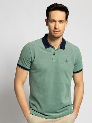Pánská světle zelená polokošile Gant Polo Shirt green