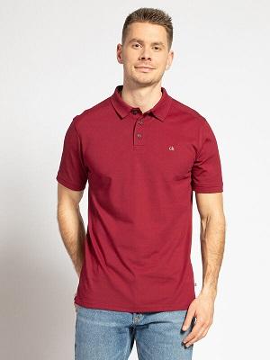Pánská tmavě vínová polokošile Calvin Klein Polo Shirt bordeaux