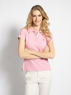 Světle růžové dámské polo tričko Gant Polo Shirt pink