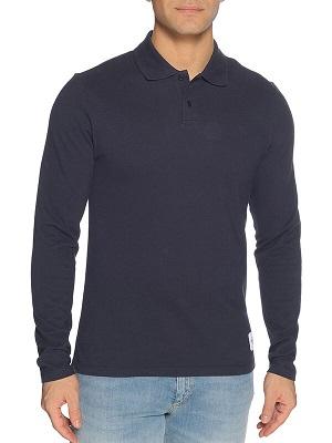 Tmavě modrá pánská polokošile Calvin Klein Long-Sleeved Polo navy CK-10660