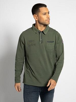 Zelené pánské polo triko Milano Long-Sleeved Polo Shirt olive