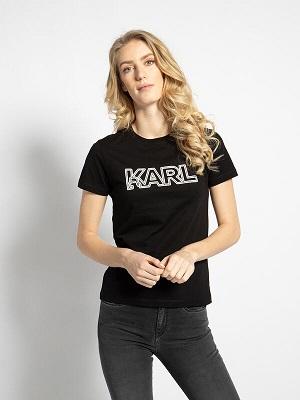 Dámské černé tričko s potiskem Karl Lagerfeld T-Shirt black
