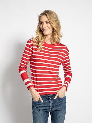 Dámské bílo červené tričko Gant Long Sleeve Top red/white