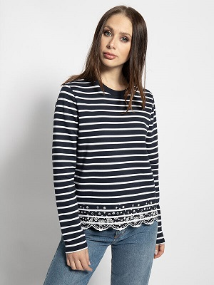 Dámské bílo tmavě modré tričko Superdry Long Sleeve Top navy/white