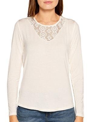 Dámské krémové tričko Khujo Long-Sleeved Top off-white