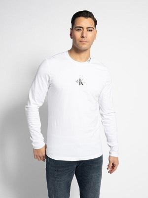 Pánské bílé tričko Calvin Klein Long Sleeve Top white