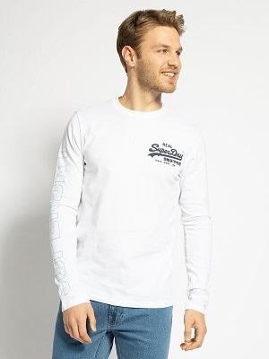 Pánské bílé tričko s potiskem Superdry Long Sleeve Top white