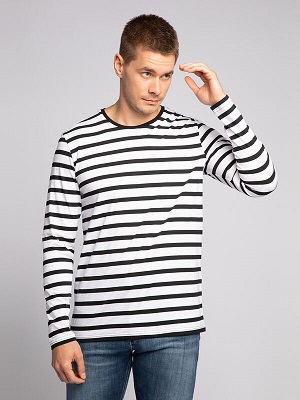 Pánské černo bílé tričko Mishumo Long-Sleeved Top white/black MI-13494