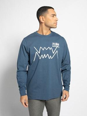 Pánské modré tričko s potiskem Puma Long Sleeve Top Bluejeans