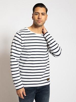 Pánské modro bílé tričko Khujo Long Sleeve Top white/navy