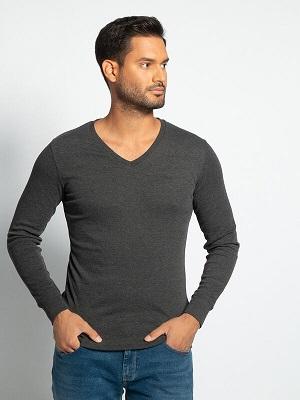 Pánské tmavě šedé tričko LTB Long Sleeve Top grey melange 218