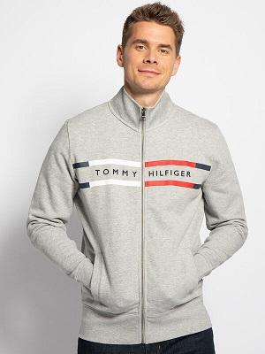 Pánská světle šedá mikina Tommy Hilfiger Sweatshirt Jacket grey