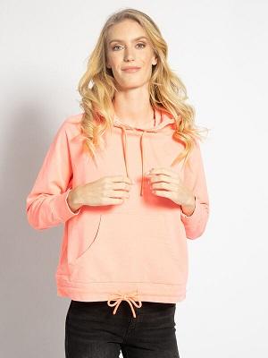 Dámská světle růžová mikina s kapucí Esprit Hooded Sweatshirt neon coral