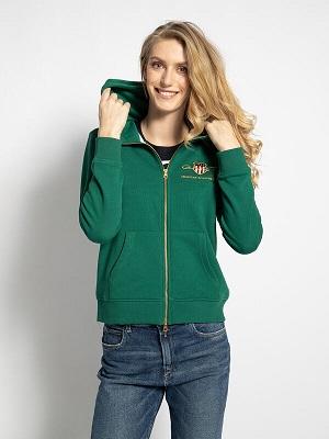Dámská zelená mikina na zip Gant Hooded Sweatshirt Jacket green